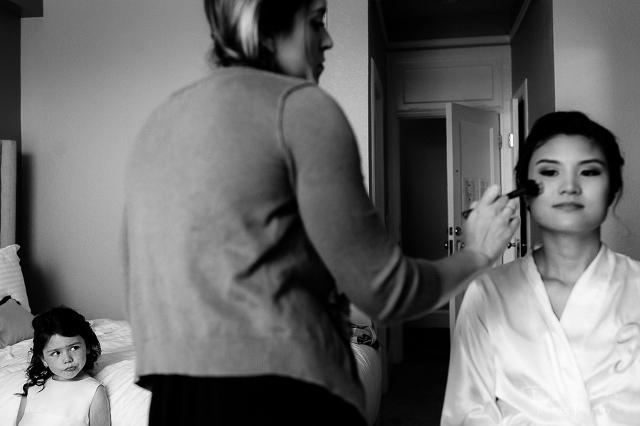 Cardinal Hotel Palo Alto Wedding Getting Ready Bride