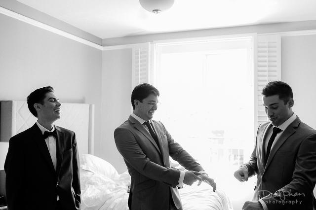 Cardinal Hotel Palo Alto Wedding Getting Ready Groom with Groomsmen